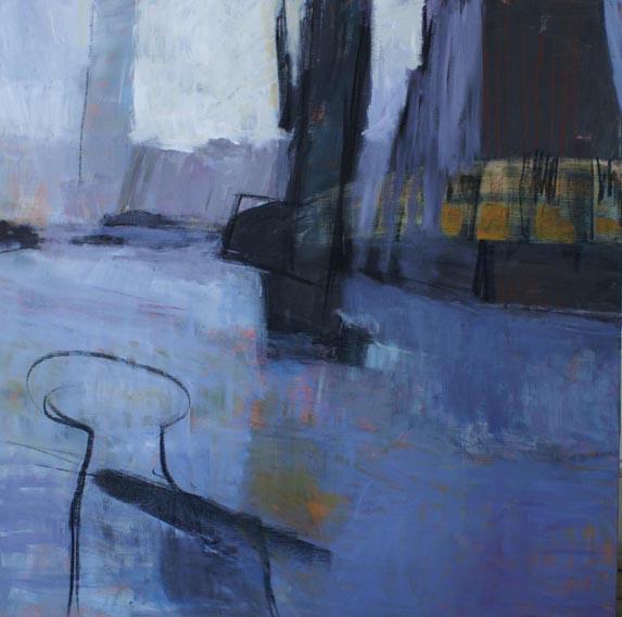 När vi lämnar hamnen 100x100 cm akryl på duk foto: Annika Ottander